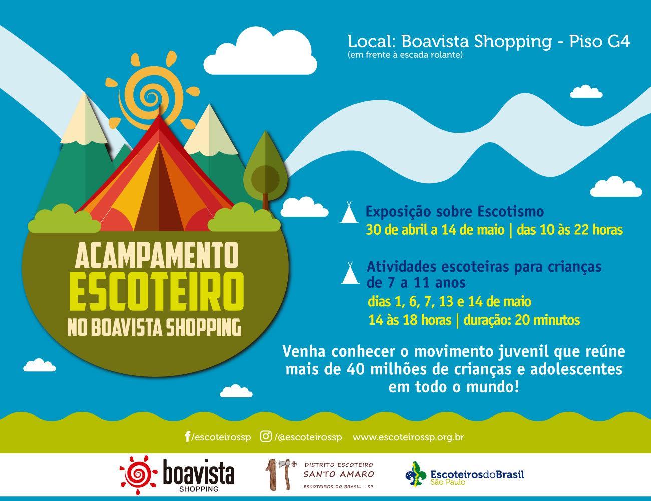 Escotismo ganha exposição e atividades educativas gratuitas no Boavista Shopping