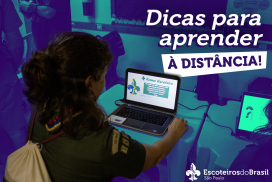"""imagem com um jovem em frente ao computador com o texto """"Dicas para aprender a distância"""""""