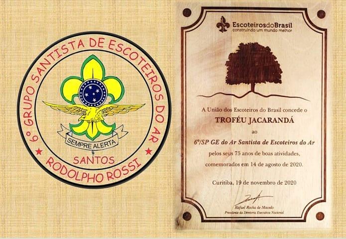 6º GE Santista recebe Troféu Jacarandá no dia do Escoteiro