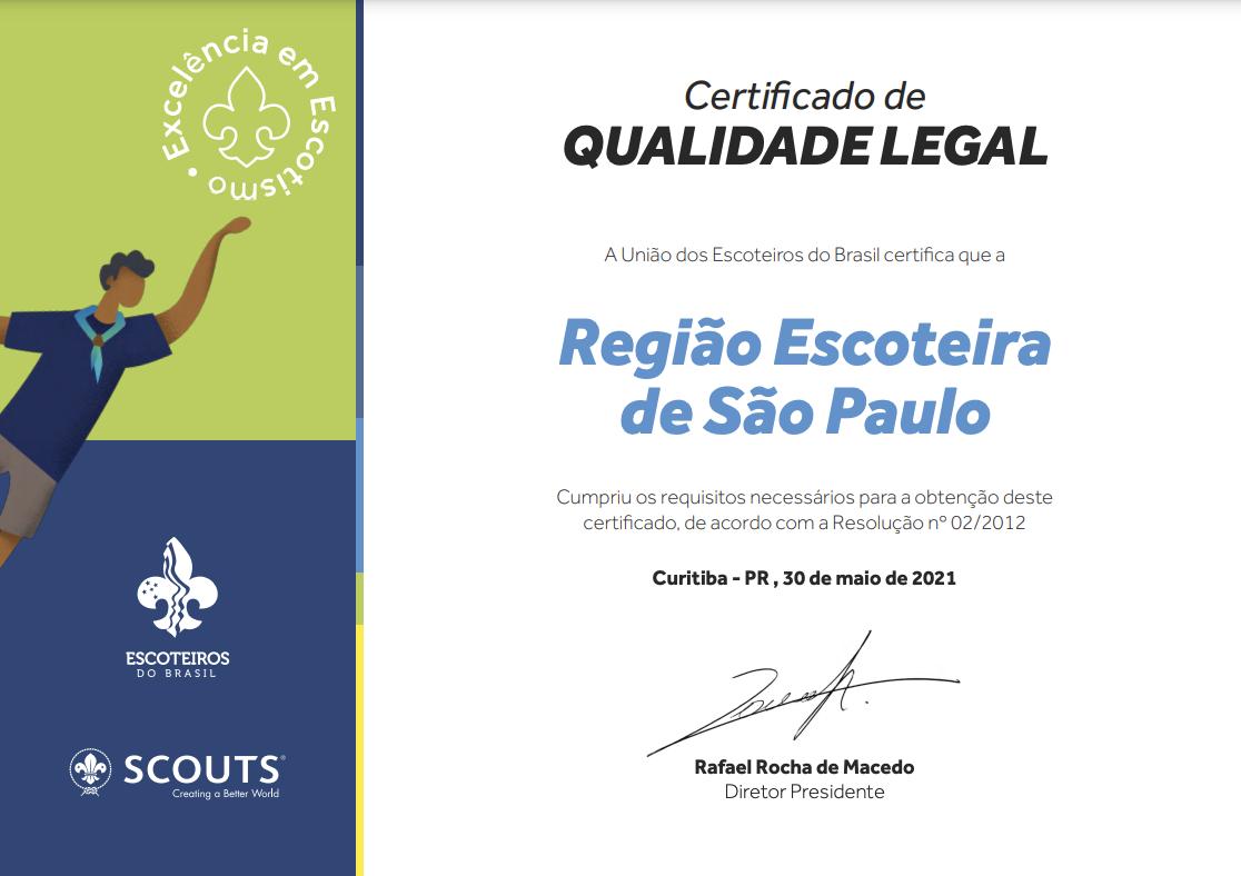 Escoteiros SP conquistam Certificado de Qualidade Legal 2021